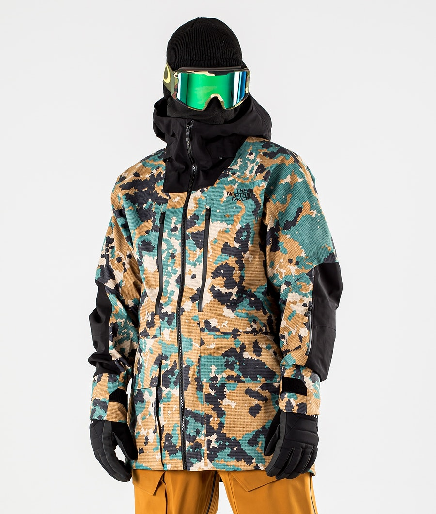 The North Face A-Cad Futurelight Snowboard Jacket Timber Tan Digi Topo XL Print/Tnf Black