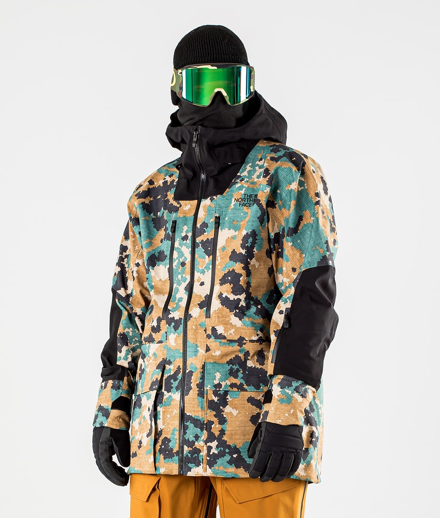 The North Face A-Cad Futurelight Ski Jacket Timber Tan Digi Topo XL Print/Tnf Black