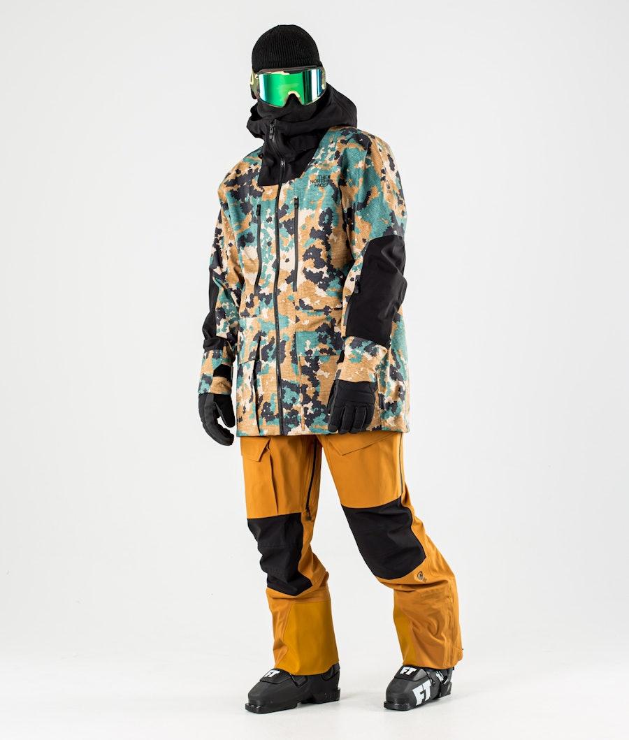 The North Face A-Cad Futurelight Skijakke Timber Tan Digi Topo XL Print/Tnf Black