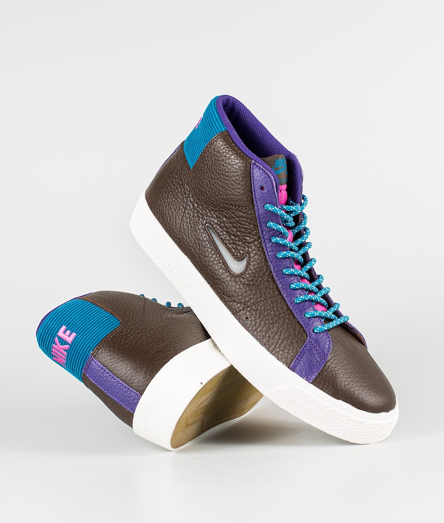 Nike Zoom Blazer Mid Premium Shoes Baroque Brown/White-Green Abyss
