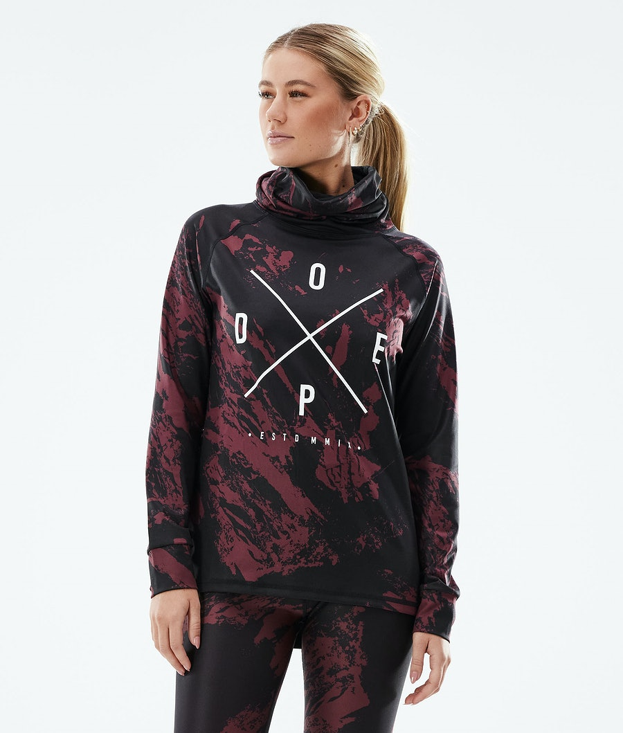 Dope Snuggle 2X-UP W Women's Base Layer Top Paint Burgundy
