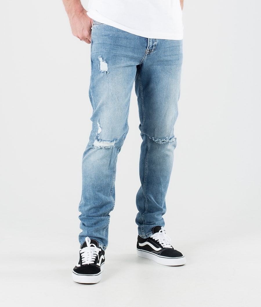 Dr Denim Clark Hosen Creek Mid Blue Ripped