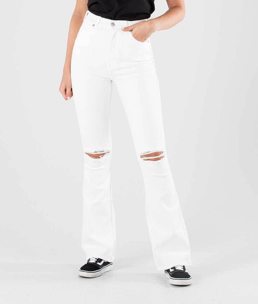 Dr Denim Moxy Flare Pants Off White Ripped