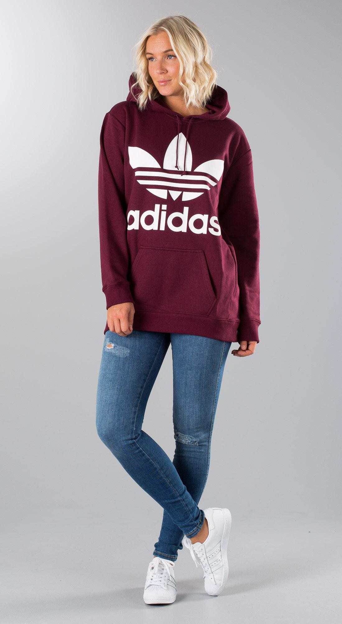 9ac30ee290f Adidas Originals Boyfriend Trefoil Hoodie Maroon - Ridestore.nl