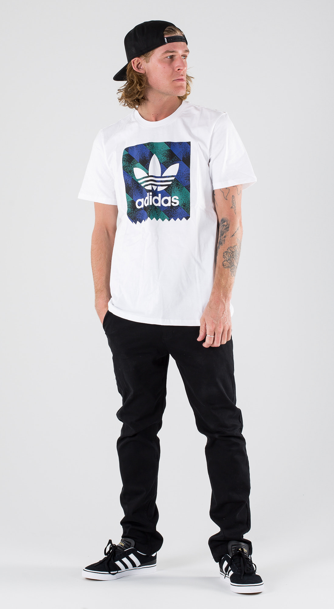 a6cf42190d Adidas Skateboarding Towning Bb T-shirt White/Black/Active Blue ...
