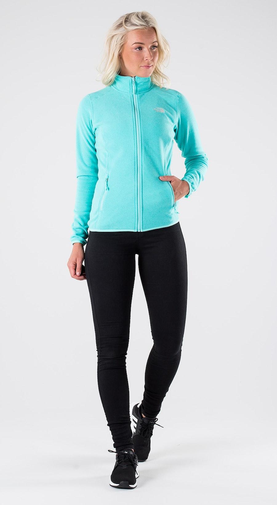 The North Face 100 Glacier Full Z Mint Blue Stripe Outfit Multi