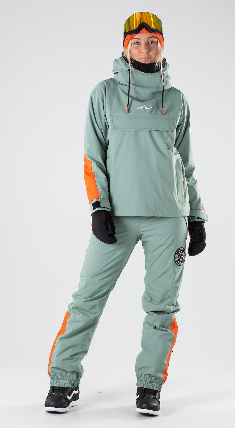 Dope Blizzard Women Faded Green Orange Abbigliamento da snowboard Multi