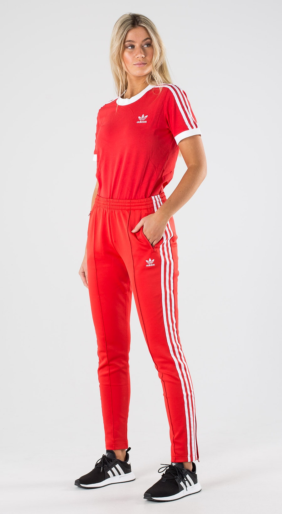 Adidas Originals 3 Stripe Tee Lush Red White Outfit Multi