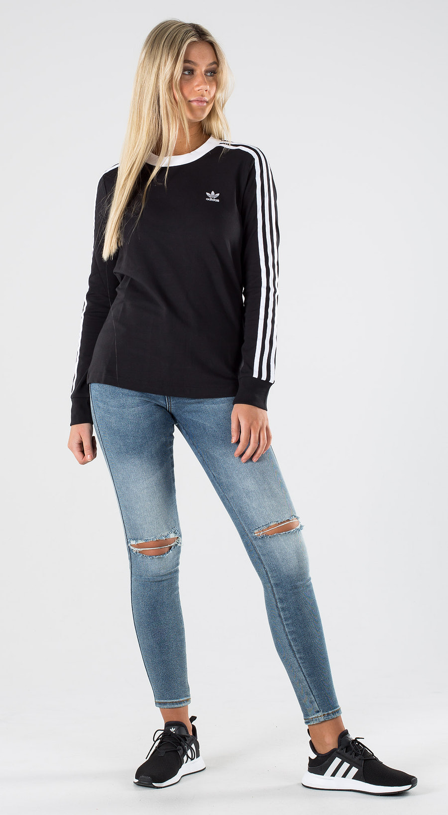 Adidas Originals 3 Stripe Longsleeve Black White Outfit Multi
