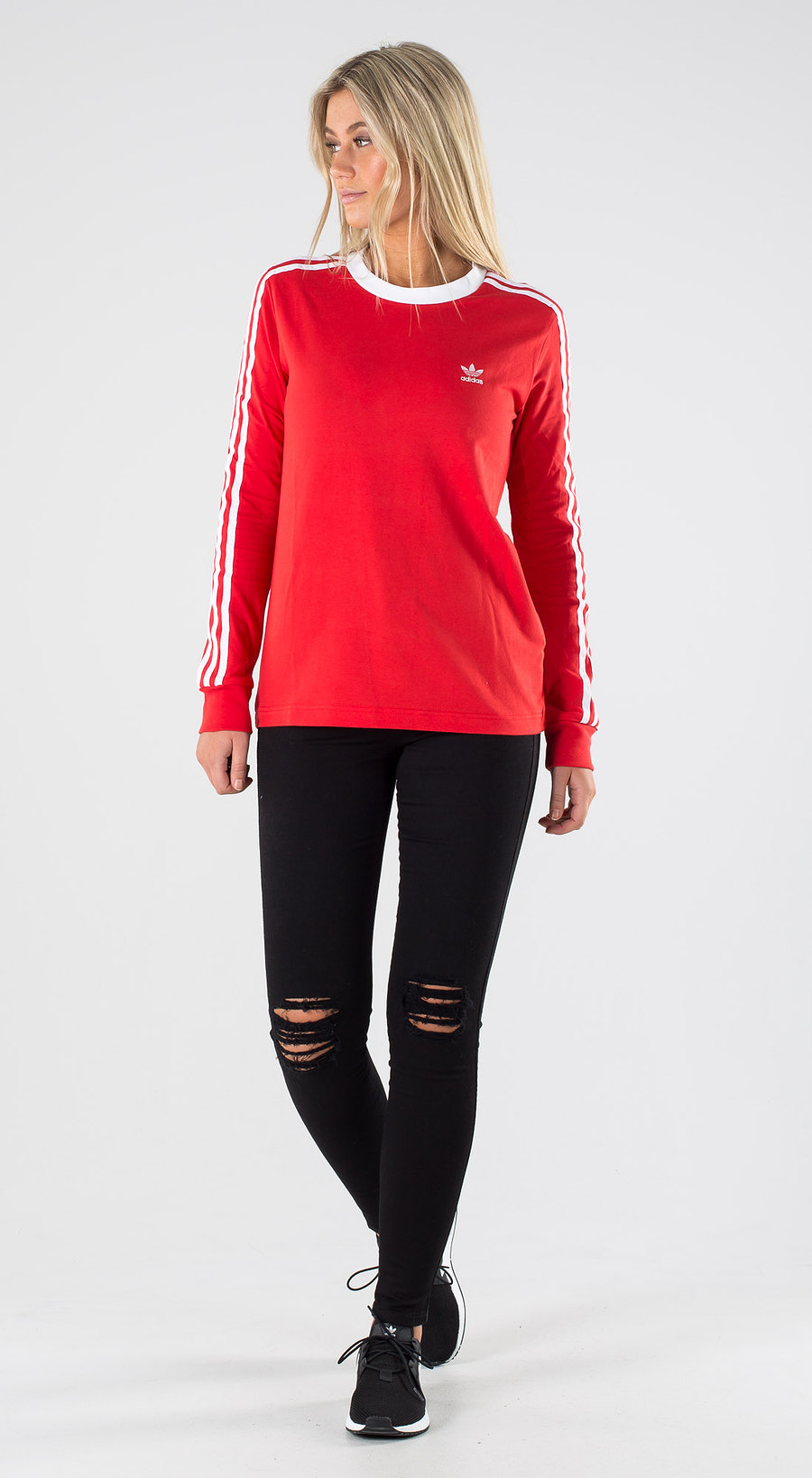 Adidas Originals 3 Stripe Longsleeve Lush Red White Outfit Multi