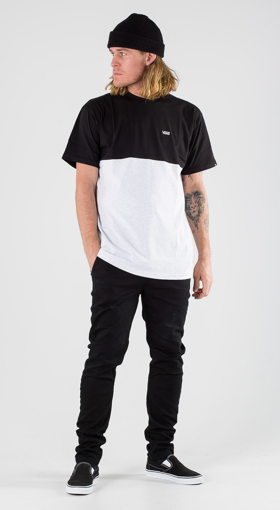 Vans Colorblock Tee Ash Heather Black Outfit Multi