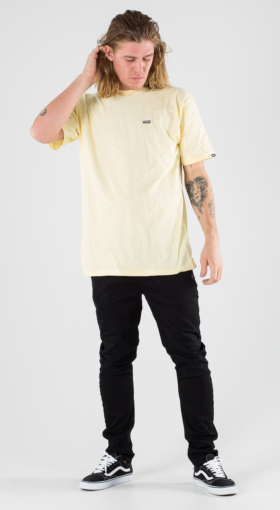 Vans Left Chest Logo Tee Double Cream Black Outfit Multi
