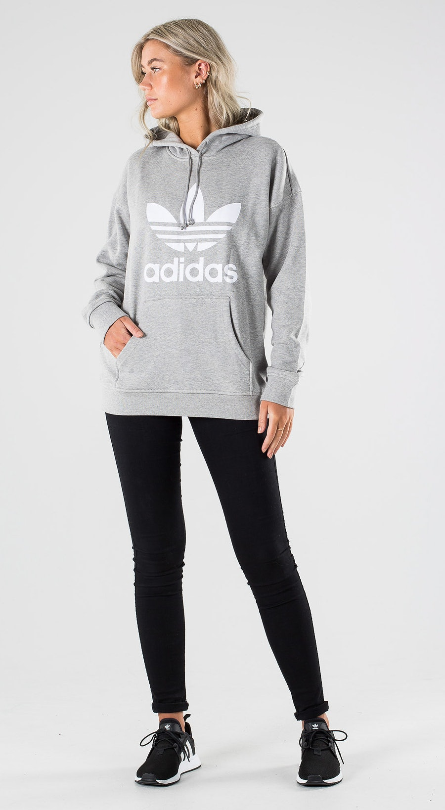 Adidas Originals Trefoil Hoodie Medium Grey Heather White Outfit Multi