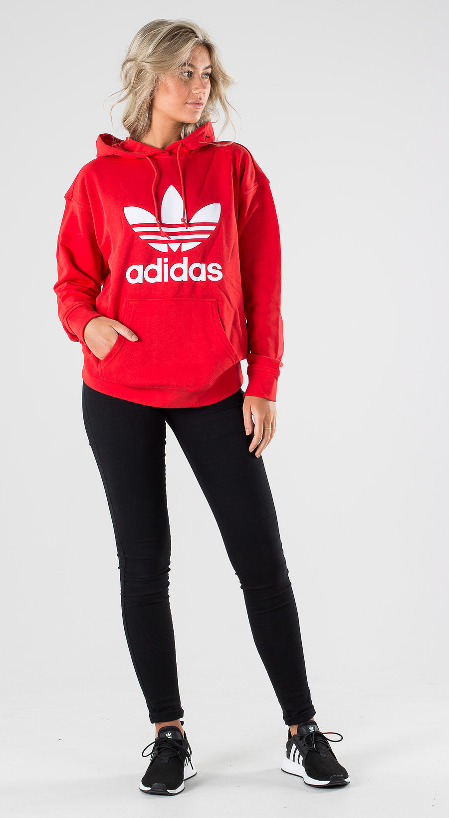 Adidas Originals Trefoil Hoodie Lush Red White Outfit Multi
