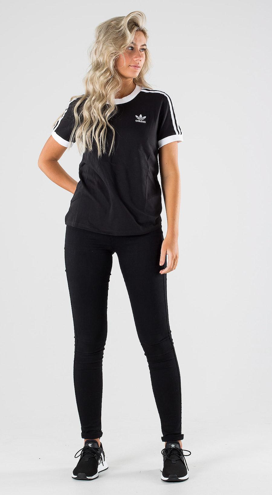 Adidas Originals 3 Stripe Tee Black Outfit Multi