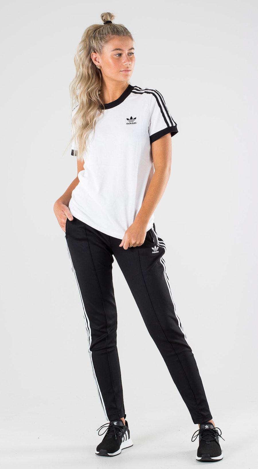 Adidas Originals 3 Stripe Tee White Black Outfit Multi