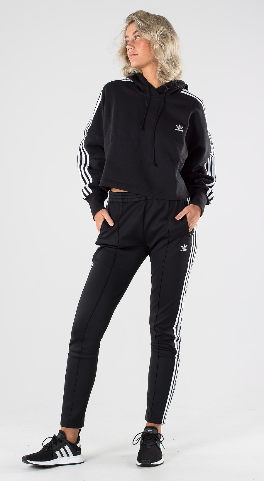 Adidas Originals Cropped Hood Black Outfit Multi