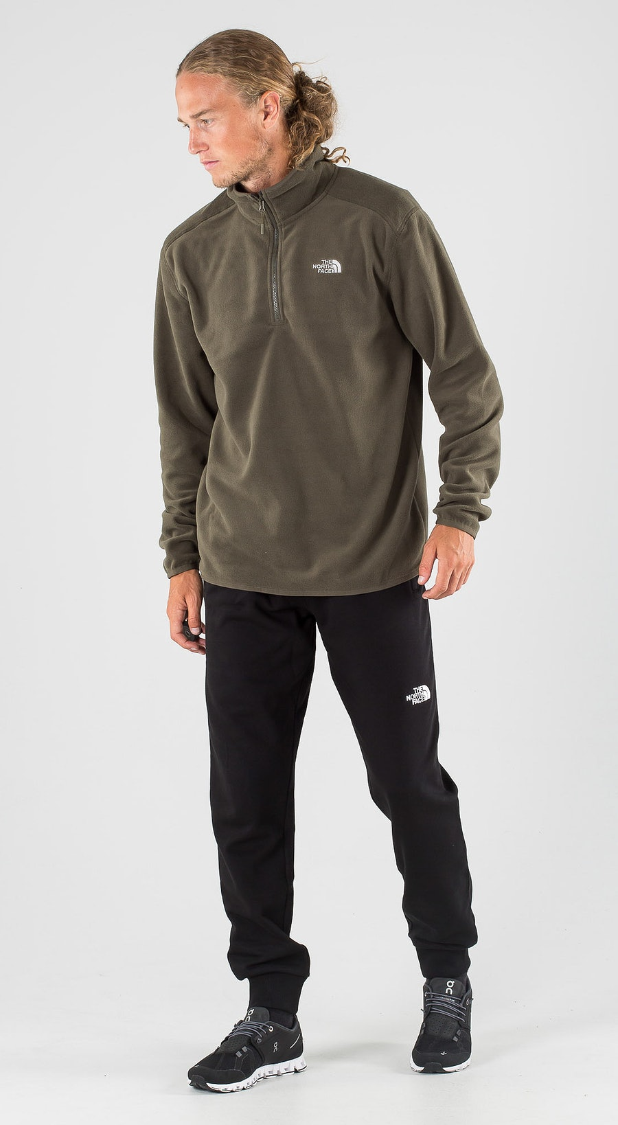 The North Face 100 Glacier 1/4 Zip New Taupe Green Outfit Multi