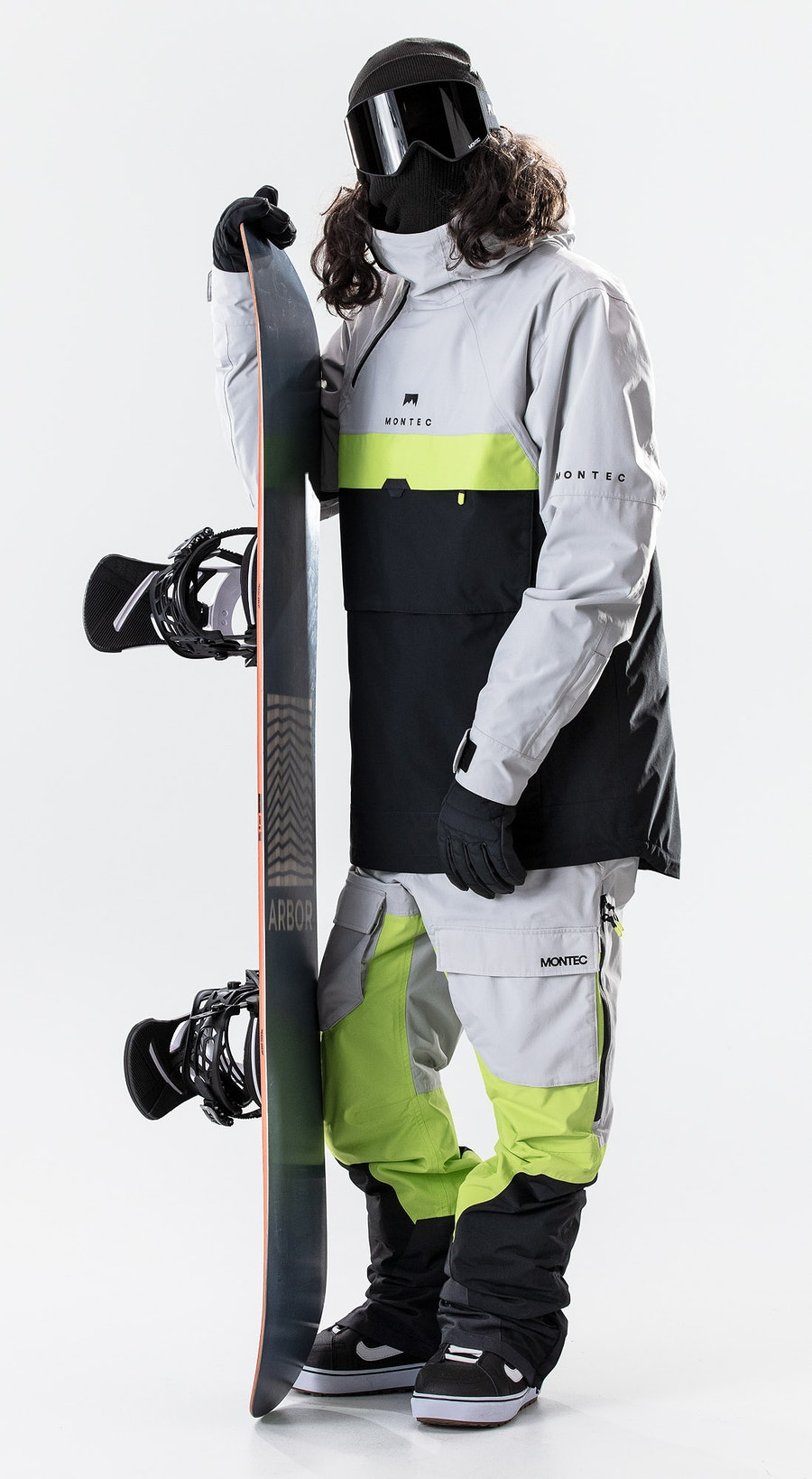 Montec Dune Light Grey/Neon Yellow/Black Vêtements de Snowboard  Multi