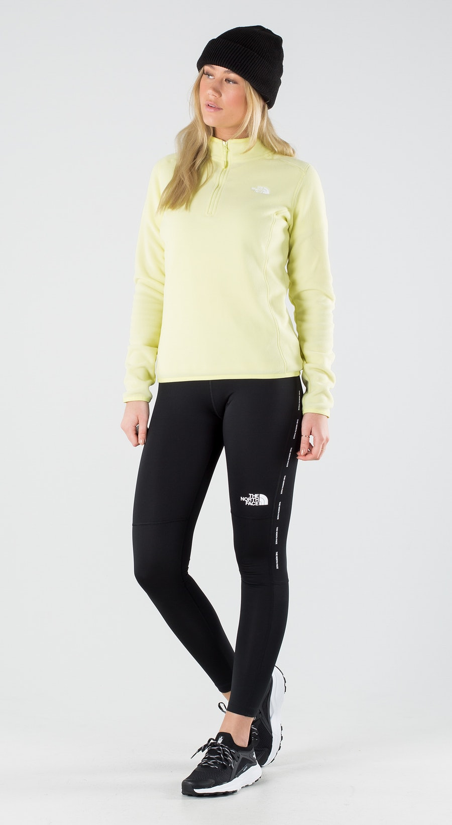 The North Face 100 Glacier 1/4 Zip Pale Lime Yellow Outfit Multi