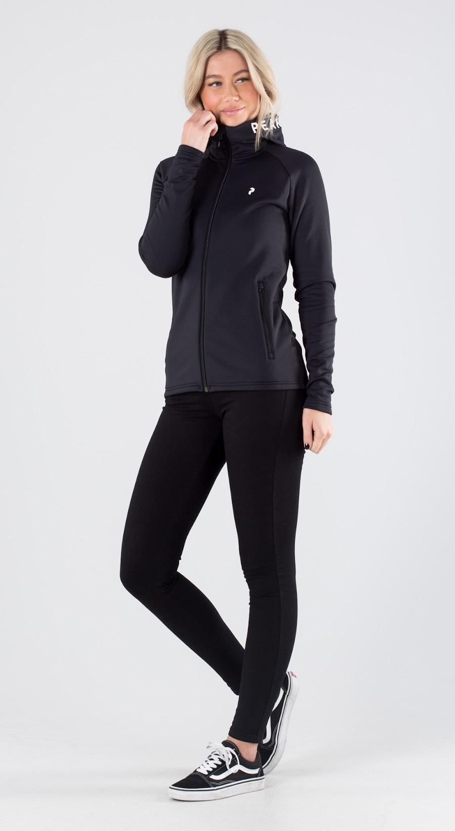 Peak Performance Rider Zip Hood Black Outfit Multi