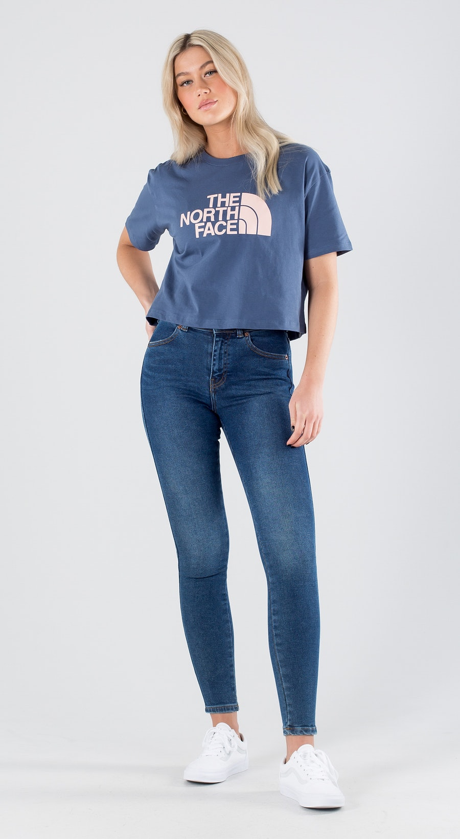 The North Face Cropped Easy Vintage Indigo/Evening Sand Pink Outfit Multi