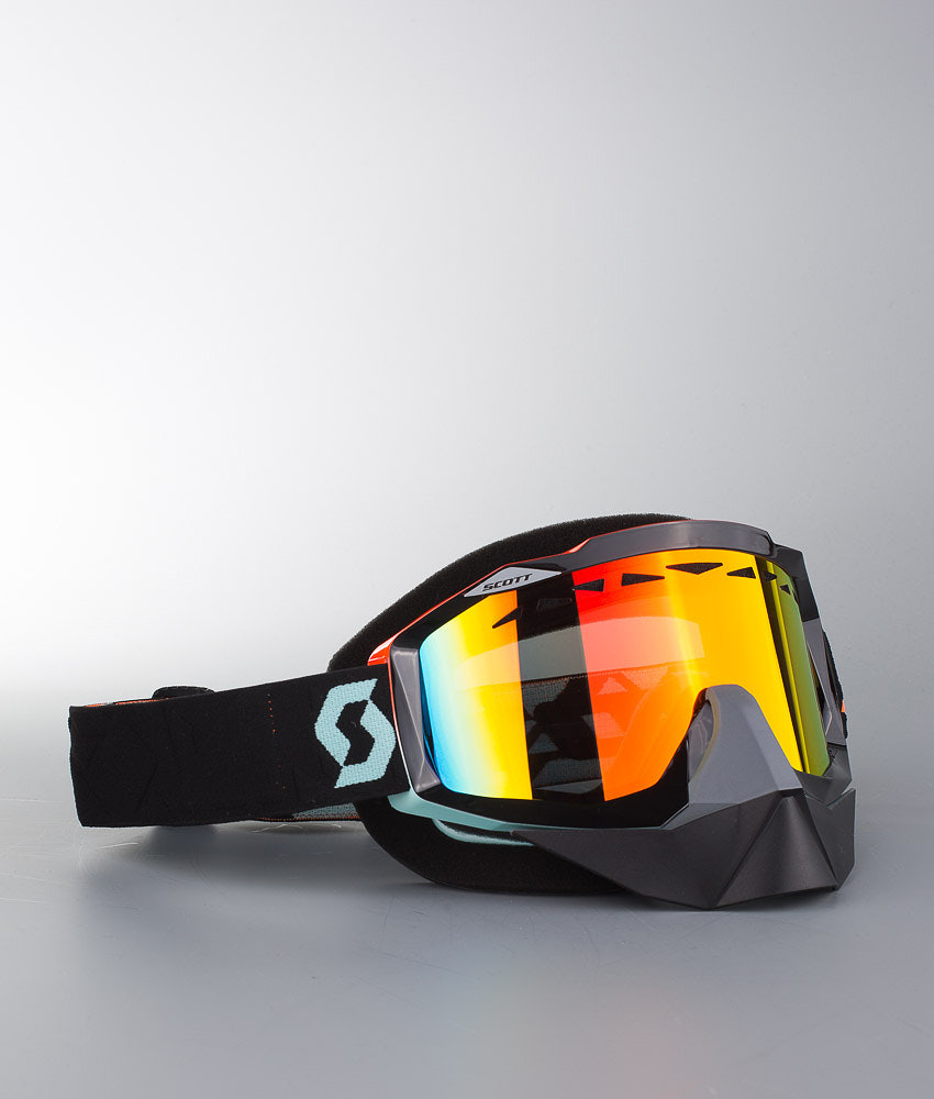 Scott Hustle Snow Cross Skoter goggles Angled Black Orange w Red ... 03ee285cb6338
