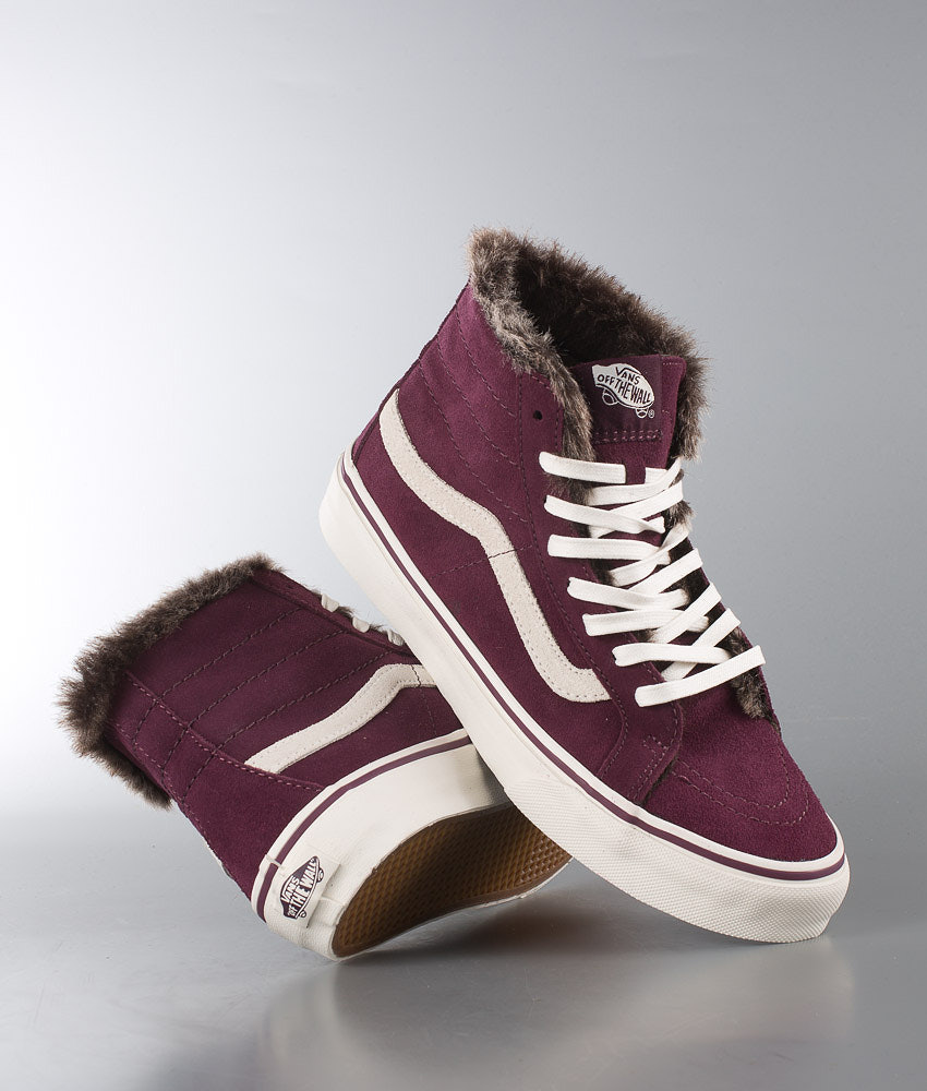 3097b5ed36 Vans Sk8-Hi Slim Shoes (Fur Lining) Fig Marshmallow - Ridestore.com
