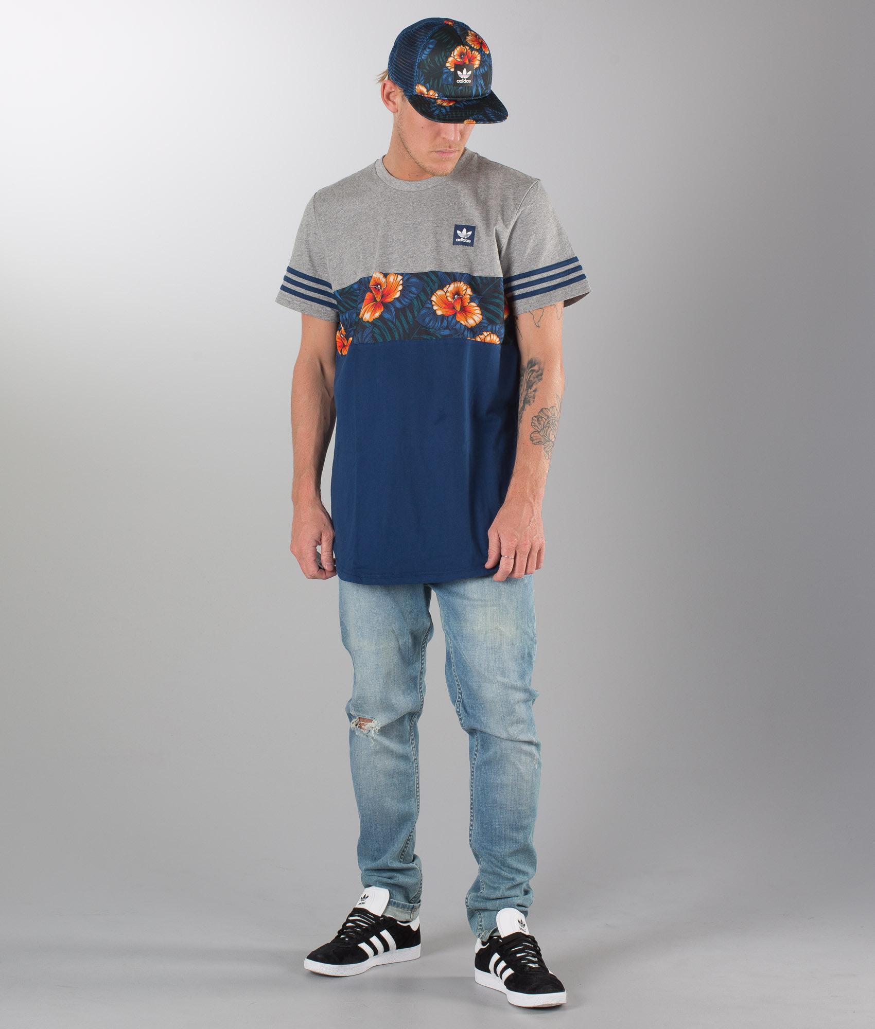 cbf2aadd1 Adidas Skateboarding Sweet Leaf Blocked T-shirt Corhtr/Mysblu/Multco ...