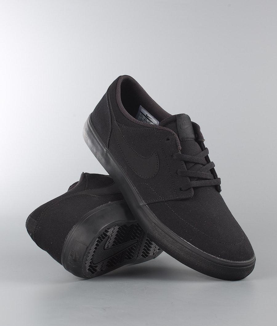 Nike SB Portmore II Solar Cnvs Skor Black/Black