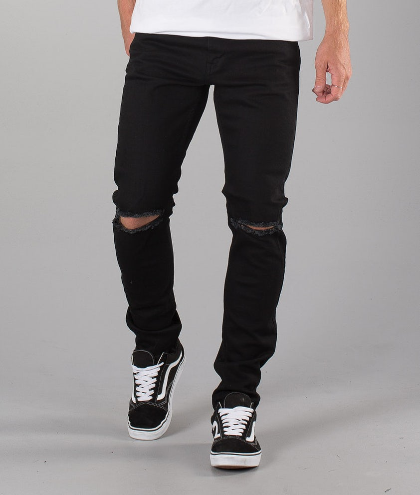 Dr Denim Clark Byxa Black Ripped Knees