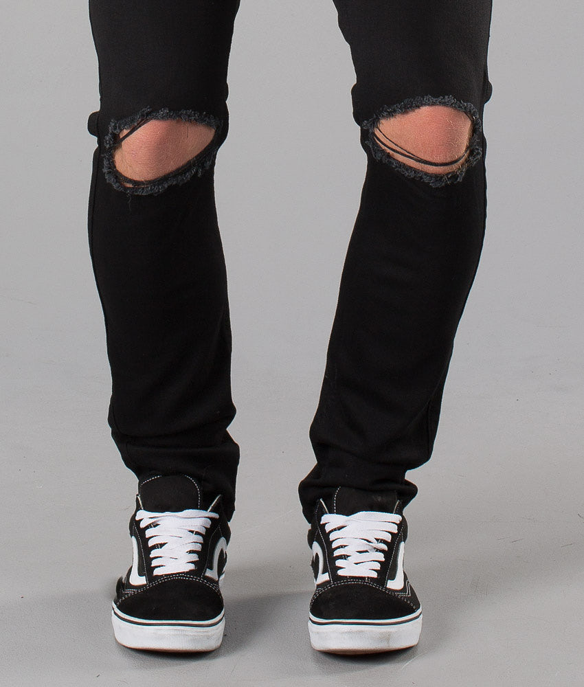 Dr Denim Clark Bukser Black Ripped Knees