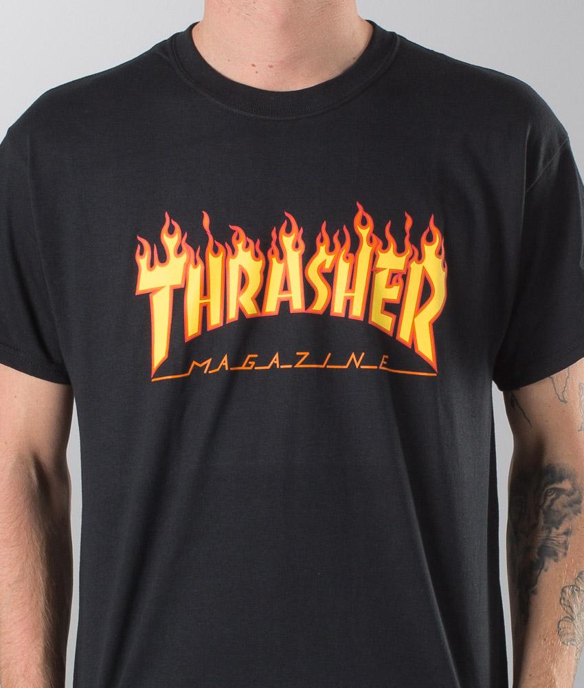 T Shirt Flame Shirt Thrasher Black T Thrasher Flame Black R54j3LqA