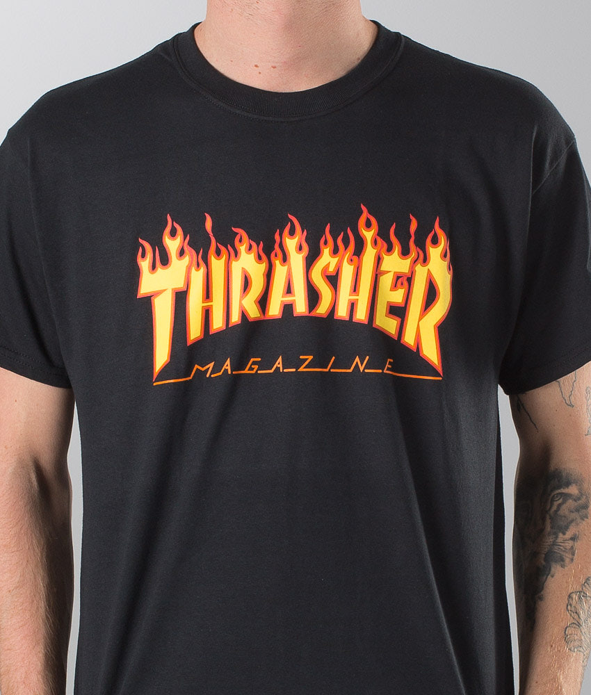 f478896c5229 Thrasher Flame T-shirt Black - Ridestore.com