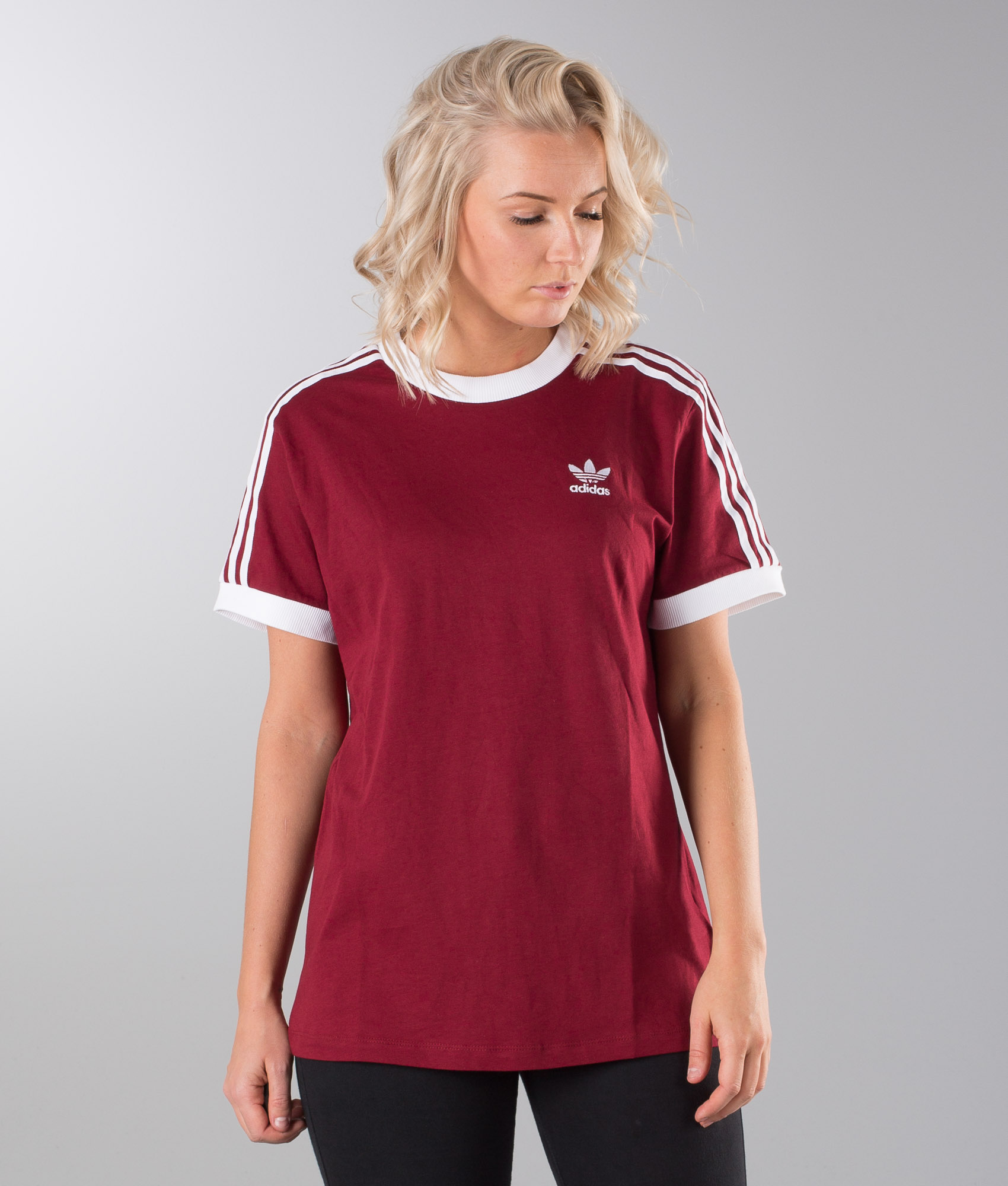 Stripes Burgundy Adidas Shirt T Collegiate Originals 3 0nPkOw