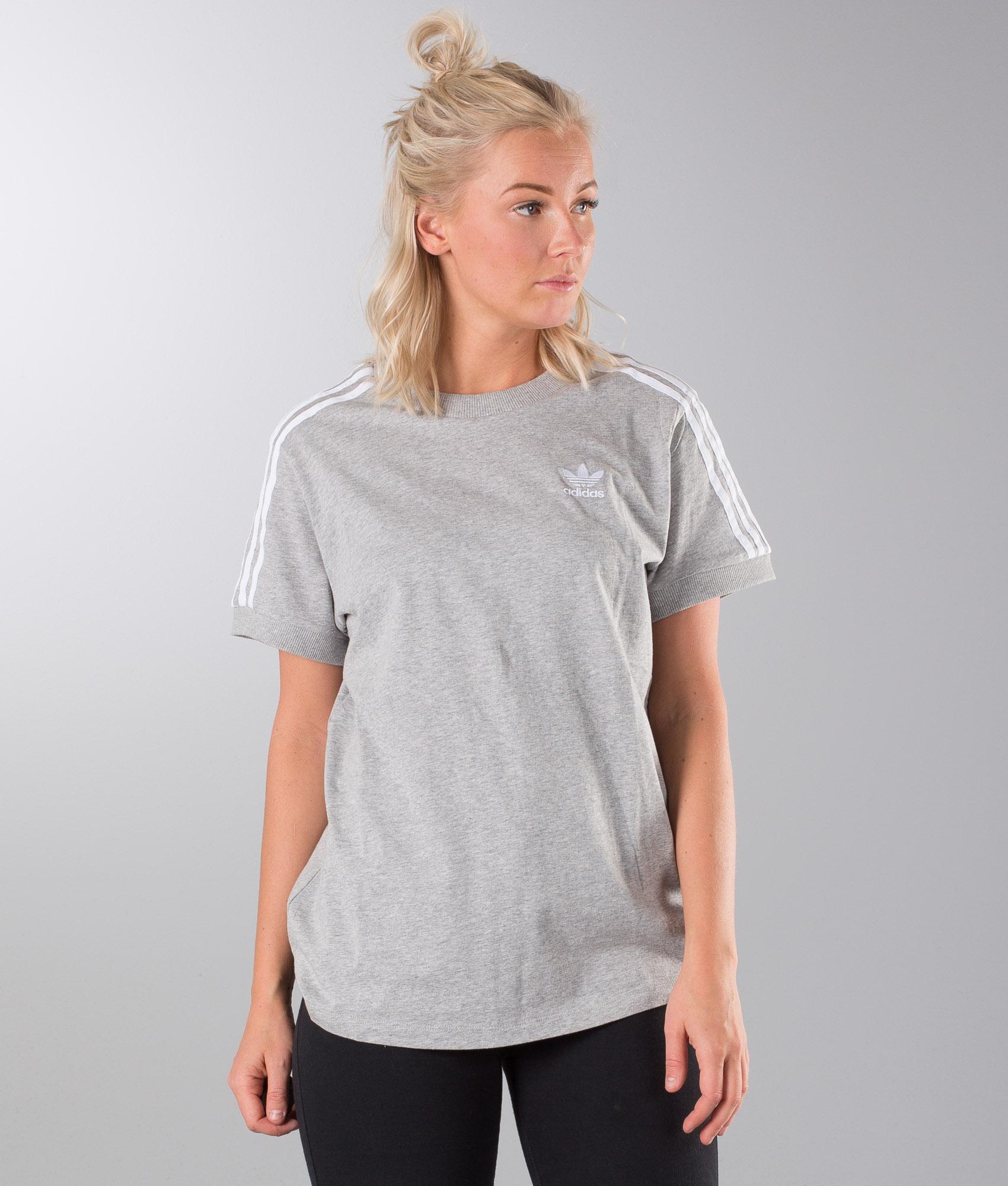 Adidas Originals 3 Stripes T Shirt Medium Grey Heather
