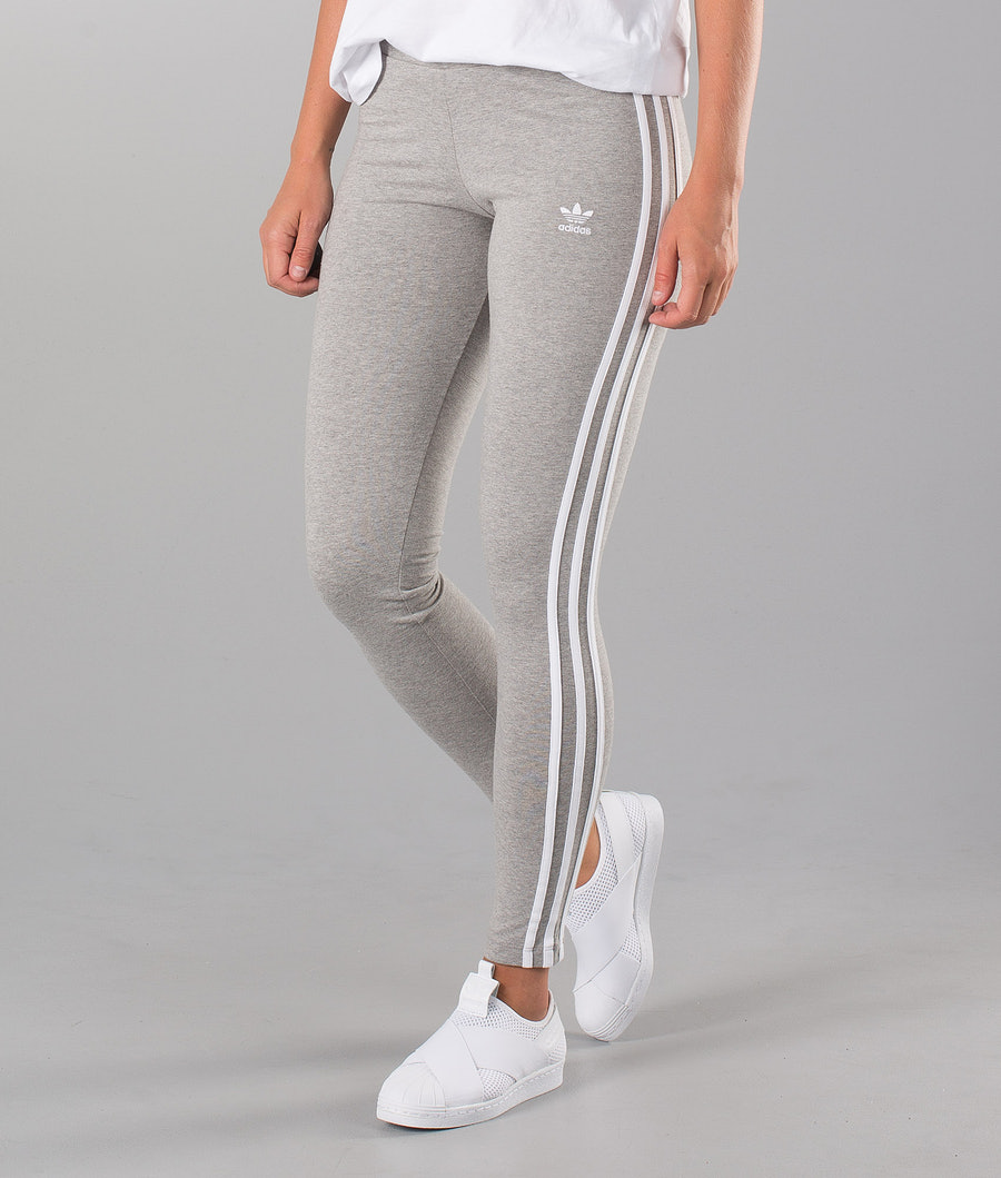 Adidas Originals 3 Stripes  Leggings Medium Grey Heather