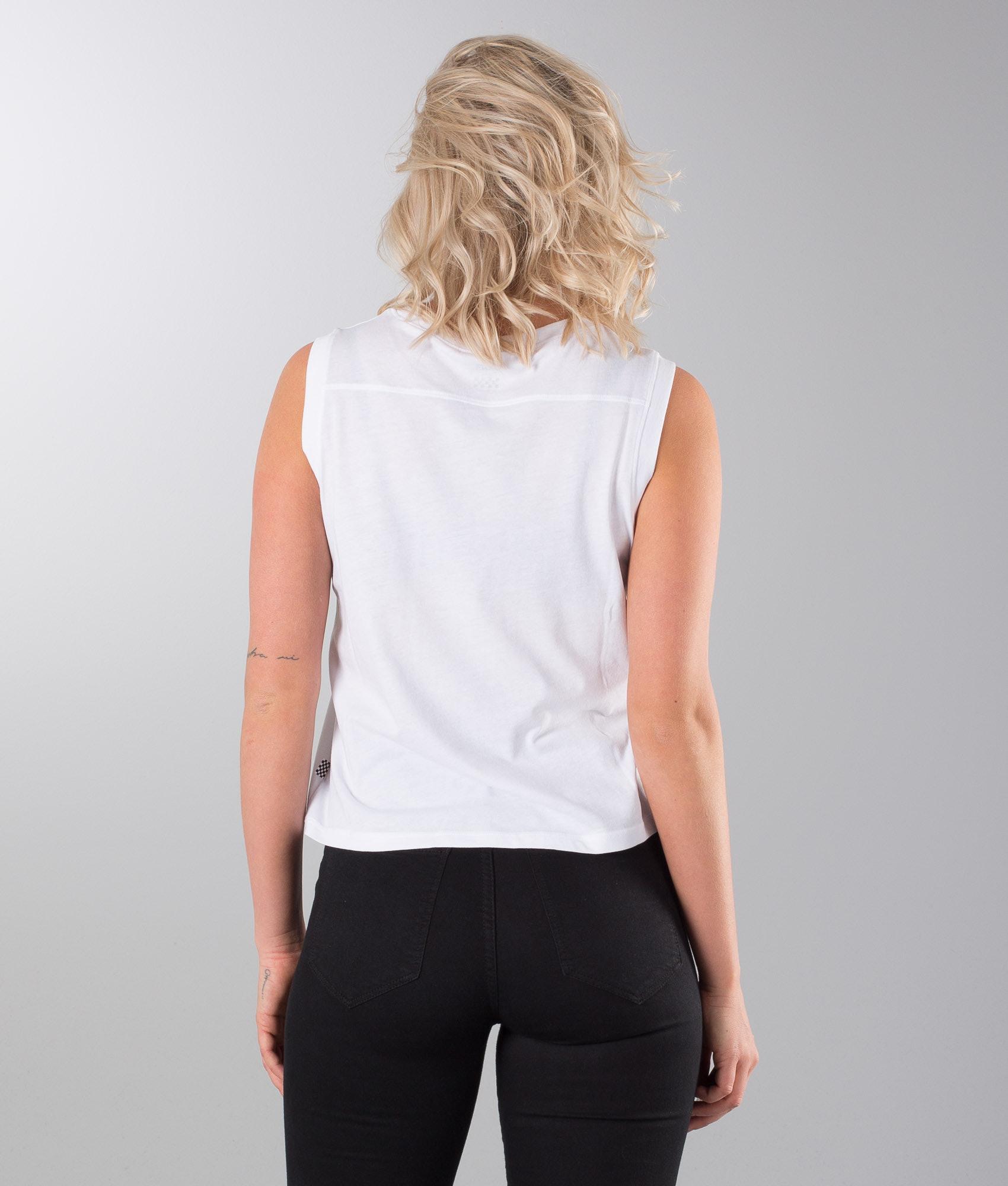 73493790fb7080 Vans Muscle V T-shirt White Black - Ridestore.com