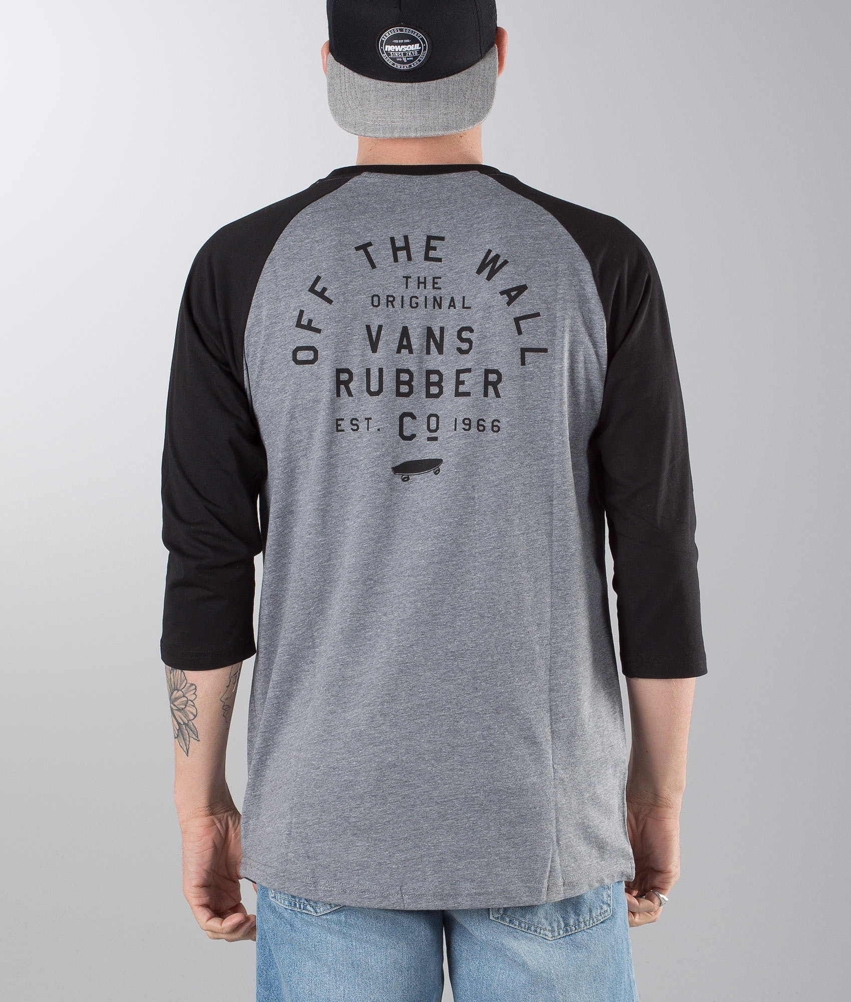 Vans Stacked Rubber Raglan T-shirt Heather Grey Black - Ridestore.com c8f13bc90