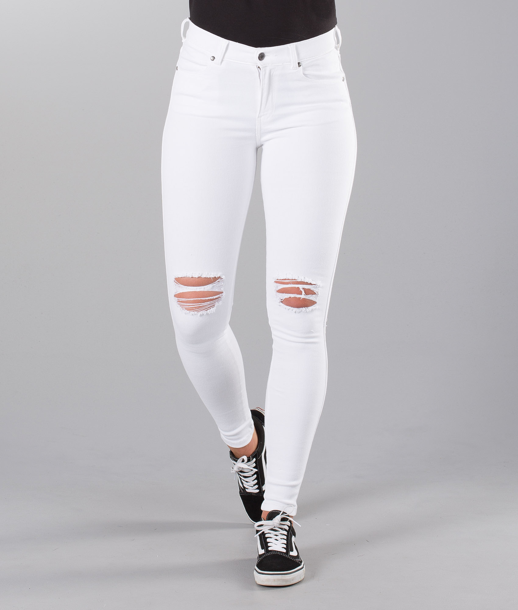 5dbf1921 Dr Denim Lexy Pants White Ripped Knees - Ridestore.com