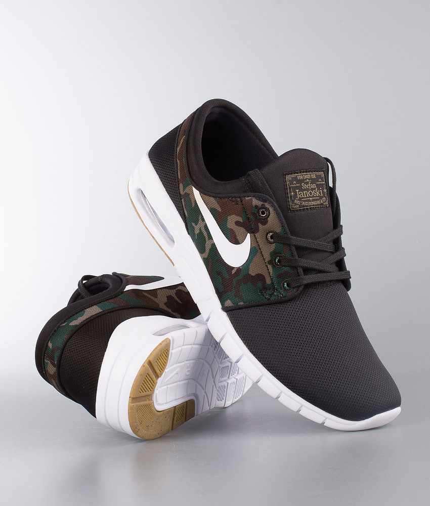 Nike Stefan Janoski Max Shoes Black White-Medium Olive-Gum Light ... f259a09f4