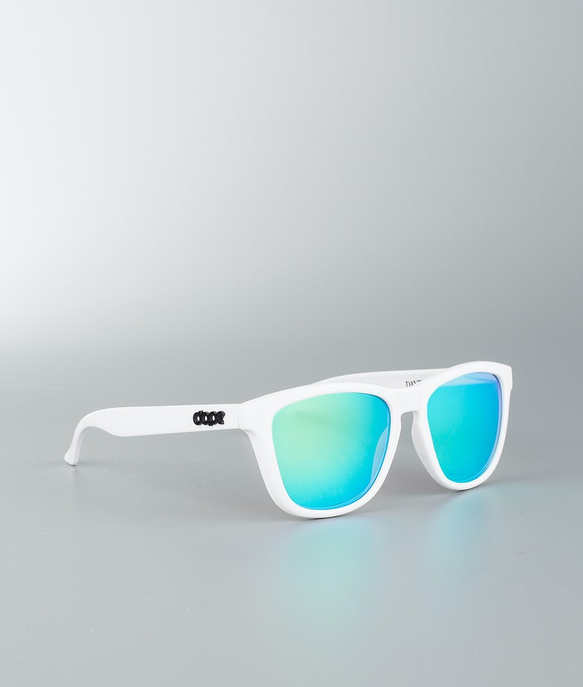 Dope Daywalker II Sunglasses Glossy White w/Green Mirror