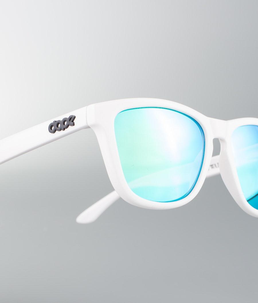 Dope Daywalker II Sunglasses Glossy White w/Green Mirror