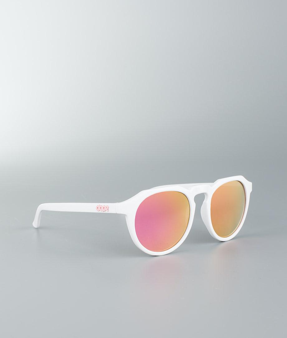 Dope Oldskool III Solglasögon Glossy White W/Pink Mirror