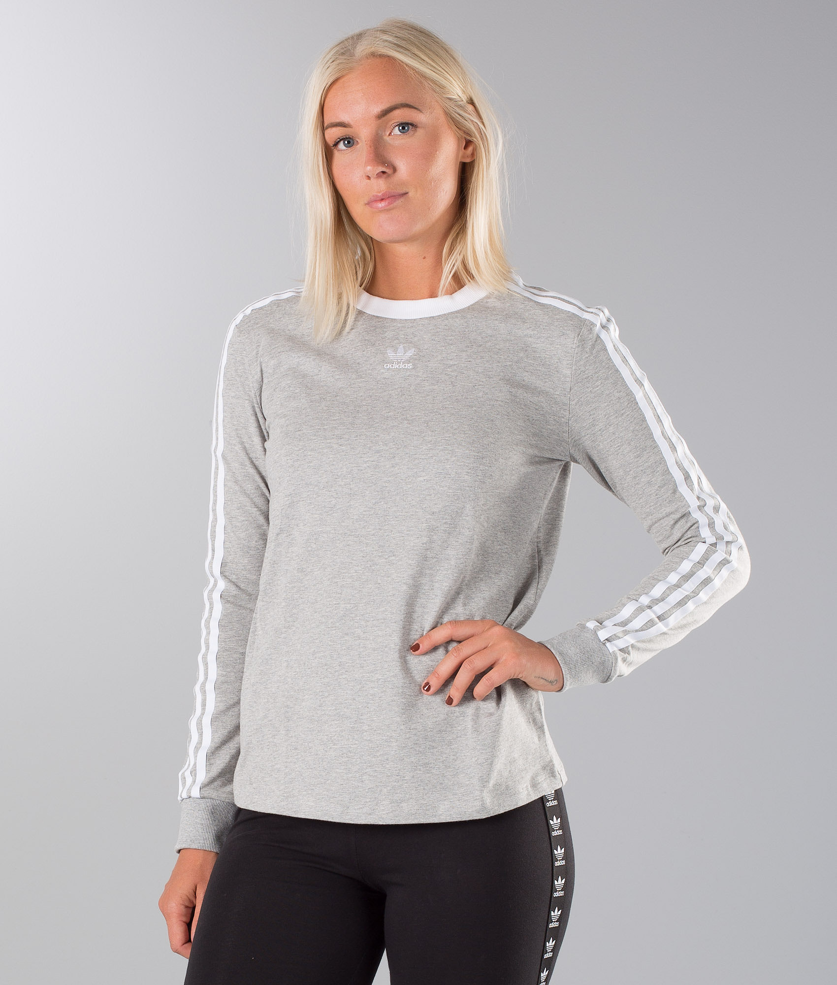 0006c24c Adidas Originals 3 Stripes Longsleeve Medium Grey Heather - Ridestore.se