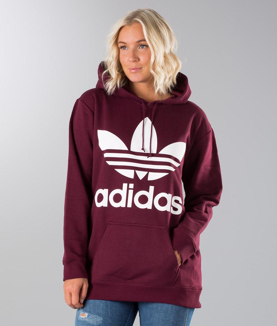 Adidas Originals Boyfriend Trefoil Hoodie Maroon