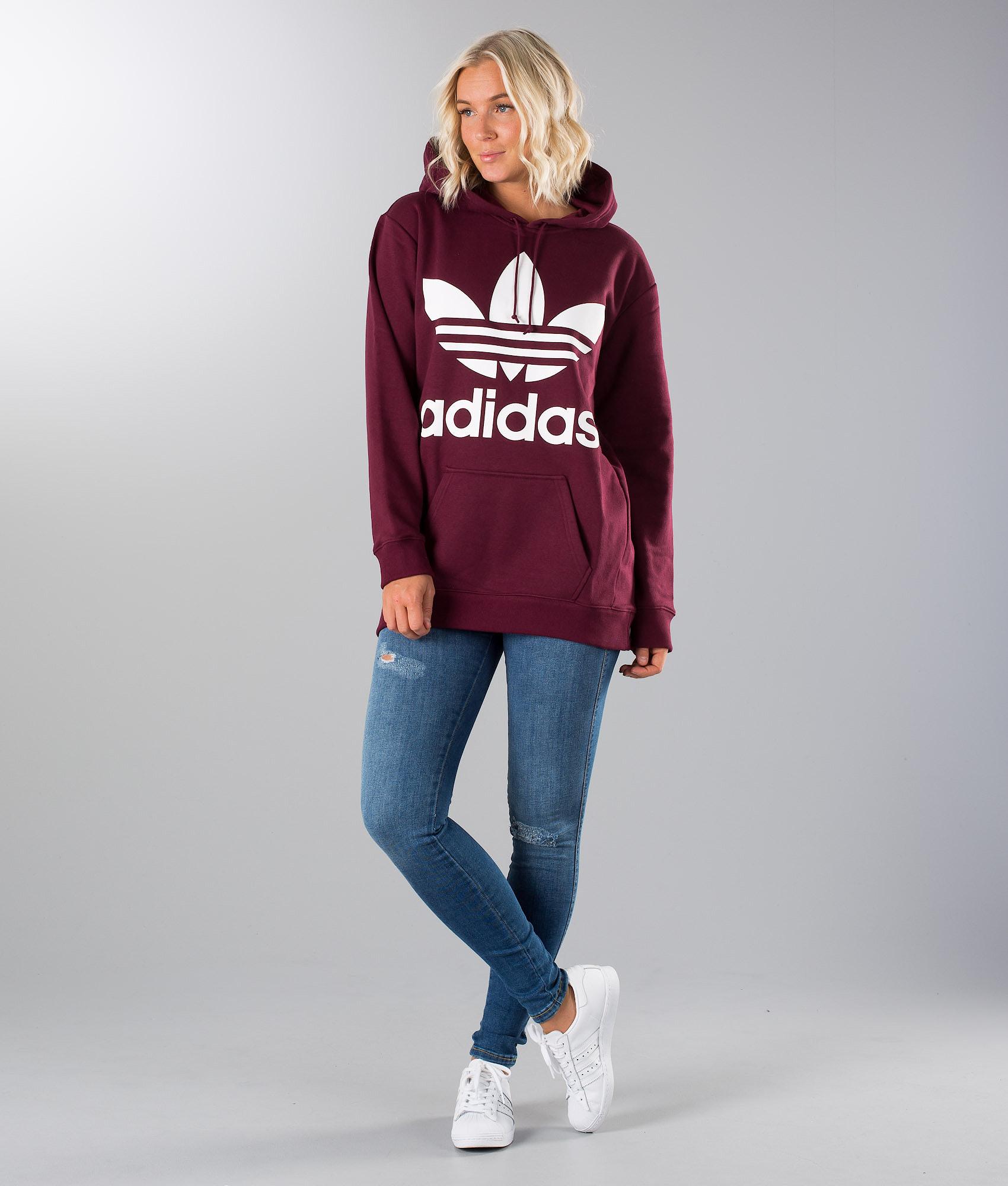 Adidas Originals Boyfriend Trefoil Hood Maroon - Ridestore.com 316c7487af