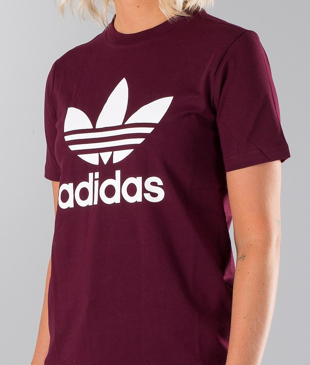 248f3fefc Adidas Originals Trefoil T-shirt Maroon - Ridestore.com