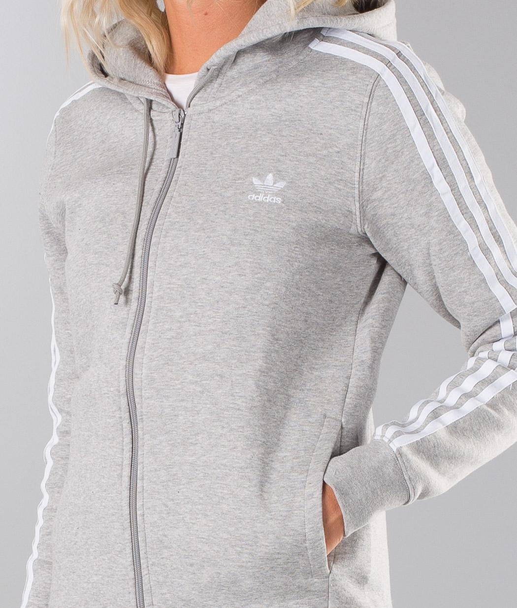 Adidas Originals 3Stripe Hoodie Medium Grey Heather