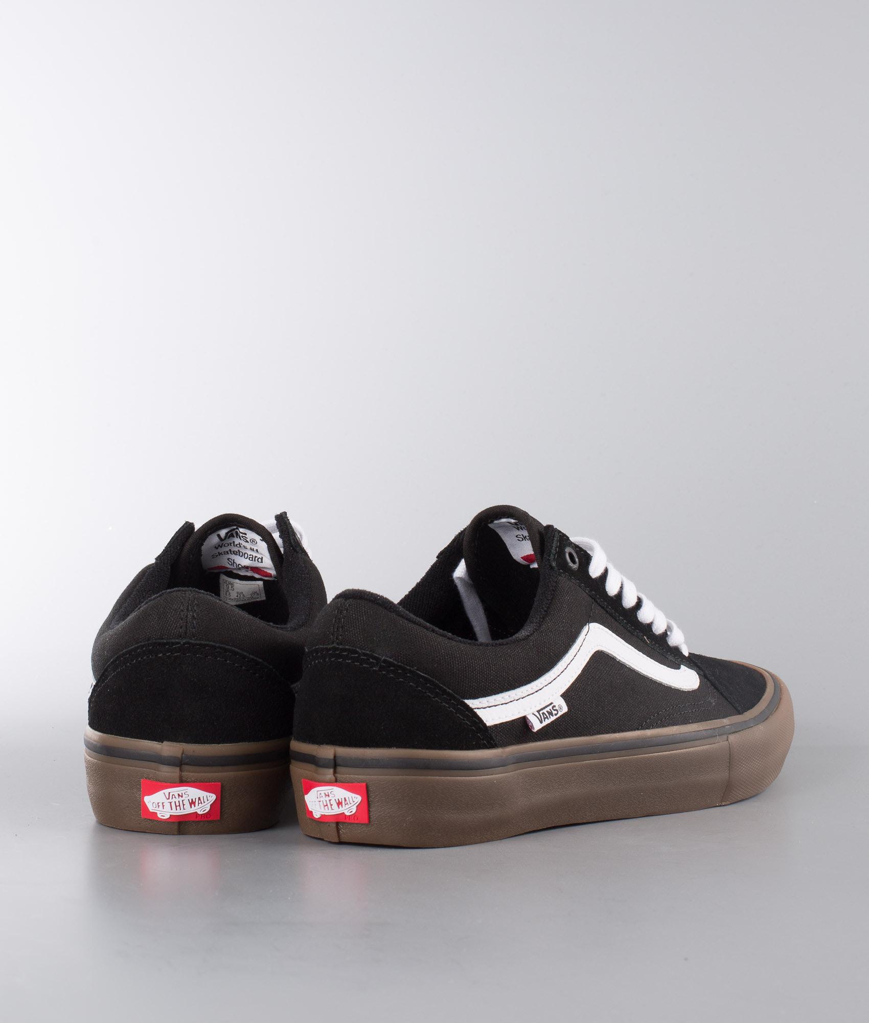 Vans Old Skool Pro Shoes Black White Medium Gum - Ridestore.com 9bb195bee
